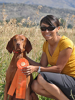 Vizsla Kosmo and Mel celebrate a NEW AKC Master Hunter!