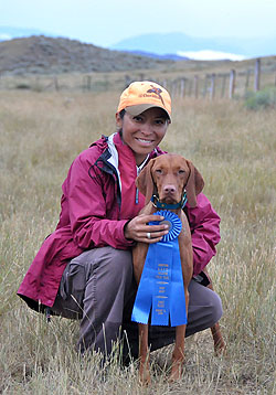 Vizsla Trip and Mel celebrating an AKC Open Derby win worth 2 Field Championship points!