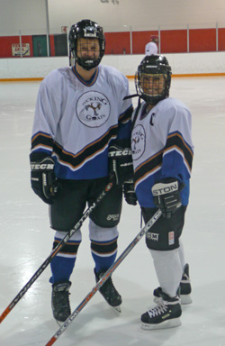 Aaron and Mel ice hockey team Pucking Goats