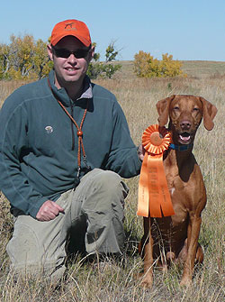 Vizsla Remus and Aaron celebrate another AKC Senior Hunter qualify